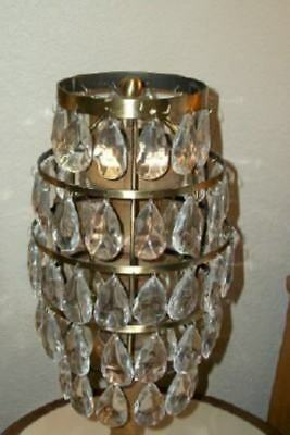 Crystal Prism Lamp Shade Tiered Metal 72 Prisms Unique Chic Shabby Paris Apt