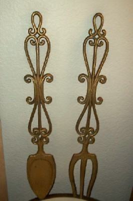 Mcm Fork & Spoon Metal Wall Decor Ornate Scrolly Gold Chic Shabby Vintage