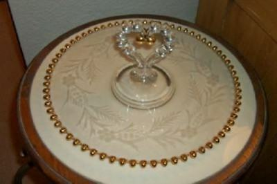 Imperial Glass Cake Plate Gilt Candlewick Etched Floral Chic Shabby Vintage