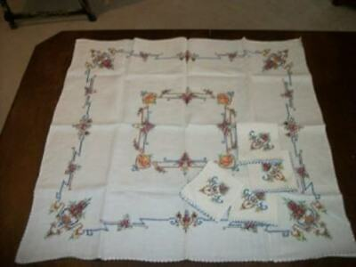 Vtg Linen Cross Stitch Embroidered Table Cloth Napkins Chic Shabby Cottage Roses