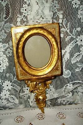 Italian Florentine Gilt Wood Carved Ornate Sconce Picture Frame Chic Shabby Rare
