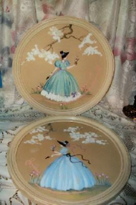 Antique Paintings Crinoline Ladies Aqua Chic Shabby Art Deco Chippy Creamy Round