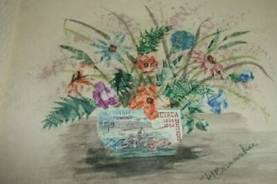 MABEL BARNSBEE POSTAGE STAMP COLLAGE PAINTING LISTED ARTIST MUSEUM Part Series