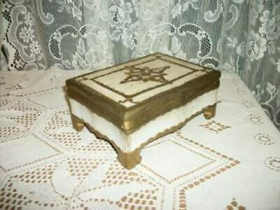 Italian Florentine Carved Wood Footed Box Chic Shabby Glam Paris Apt Mcm