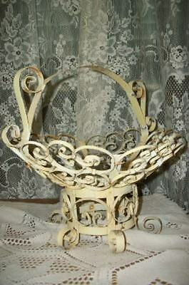 Shabby Rusty Chippy Buttery Scrolly Metal Patio Funeral Basket French Chic Wow