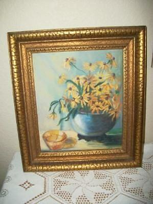 FLORAL OIL PAINTING HEAVY GILT NOT SHABBY VINTAGE STILL LIFE 30s ROSES CHIC