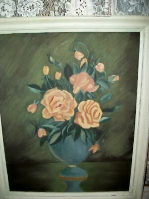 Vintage Chic Roses Oil Painting Shabby Cottage Sunday Art Chippy Frame