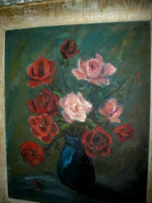 VINTAGE ROSES OIL PAINTING CHIPPY CHUNKY WOOD GESSO FRAME CHIC SHABBY Late 40's