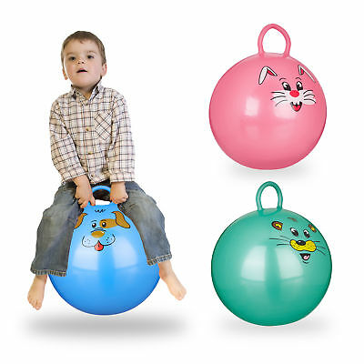 3er Set Hüpfball Kinder, Sprungball mit Tier-Motiv, Skippy Ball, Gummiball