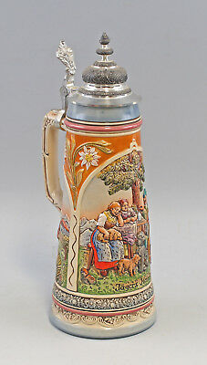 "8248079 Large Relief Beer Mug "" Jägers Return "" Gerz"