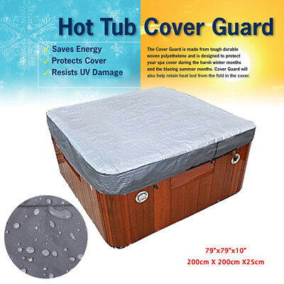 Hot Tub Spa Cover Cap Guard Waterproof Silver Jacket Bag Protector 200X200X25cm