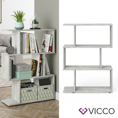 VICCO Raumteiler LEVIO Beton Regal Bücherregal Standregal Hochregal Wandregal