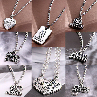 Fashion Sister Mother Daughter Dad Grandma Family Pendant Necklace JewelryV