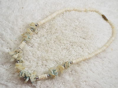 White Blue Shell Necklace (A50)