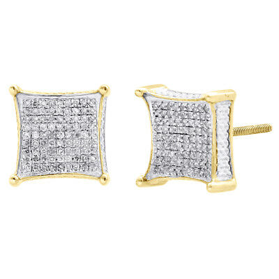 10K Yellow Gold Diamond 3D Kite Shape 4-Prong 10.50mm Earrings Pave Studs 1/2 CT