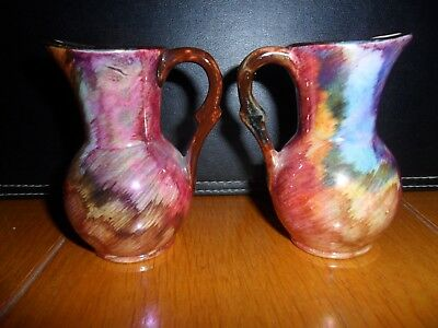 PAIR OF VINTAGE  OLDCOURT WARE, LUSTREWARE JUGS, c1950's, MULTI COLOURED SHEEN.