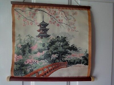 Japanese   Woven Silk - TAPESTRY - WALL HANGING -PICTURE - ART - FLOWERS
