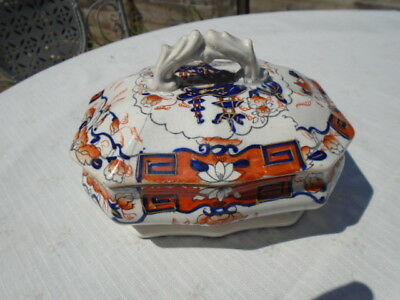 Antique Pottery Lidded Dish George 111 Imari Style Hand Painted  Spode 1815?