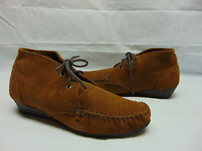 NIB MINNETONKA MOCCASIN Size 6 Women/'s Brown 100/% Suede LENA Lace-Up Ankle Boot
