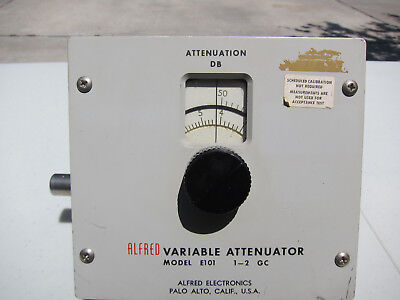 Alfred Variable Bench Lab Attenuator 1 - 2 GHz good 500-2500 MHz Type-N  0-50 dB