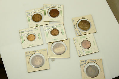 Lot of 9 British Coins 1800s / 1900s Farthing Half Penny & Penny (NUM3523)