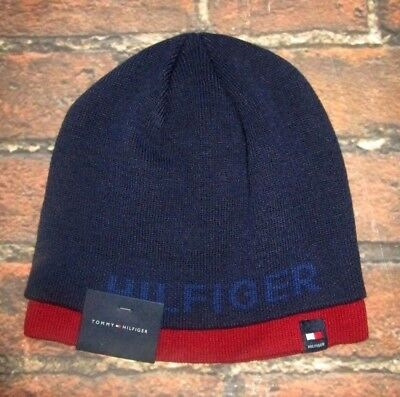 decf23726109b8 MENS TOMMY HILFIGER Blue Red Beanie Hat One Size - $21.95 | PicClick