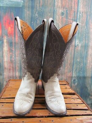 Ladies Justin Two Tone Brown Beige Leather Western Cowboy Boots sz: 6.5 B