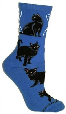 Cat Feline BLACK CAT Adult Size Medium Socks/Blue USA made RETIRED COLOR