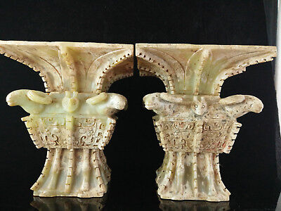 Antique Chinese Shang Dynasty Old Hetian Jade A Pair Of Zun Carving F8