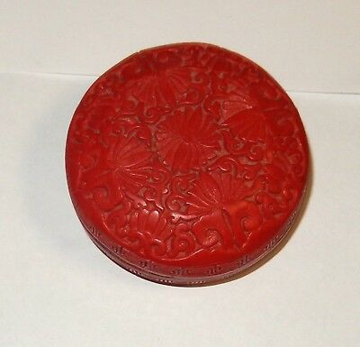 Small Chinese Cinnabar Resin Trinket Jar Box