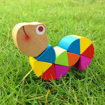 Baby Kids Twist-Caterpillar Wooden Toy DIY Retro Educational Puzzle Toy Training