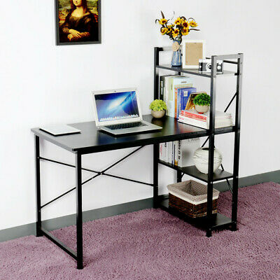 Corner Desk 4 Tier Shelves Computer PC Laptop Office Home Study Table Furniture