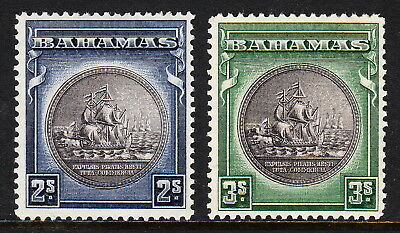 BAHAMAS — SCOTT 90-91 (SG 131c-132a) — 1943 SEAL OF COLONY SET — MH —SCV $23.00