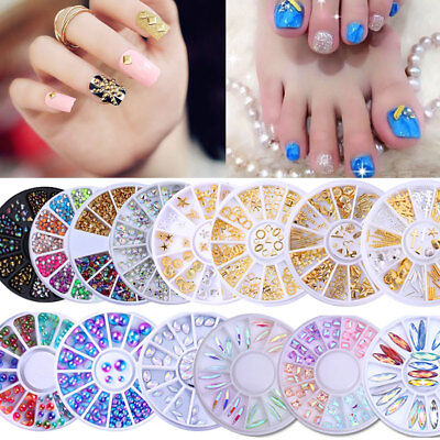 3D Nail Rhinestones Studs AB Color Nail Art Decoration in Wheel Manicure Tips