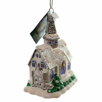 Old World Christmas SPARKLING CATHEDRAL Glass Glass Ornament Church 20076