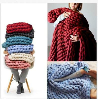 Soft Warm Large Hand Chunky Knit Blanket Thick Throw Yarn Wool Bulky Bed Spread