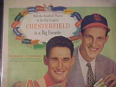 Baseball Ted Williams & Stan Musial 1947 Sports Photo Art Print Ad~ Rare Vintage