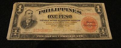 Series 1936 Philippines 1 Peso Note in Good Condition Nice Note!