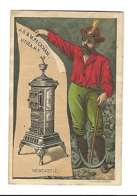 Old Trade Card J.S. & M. Peckham Stoves Newcastle UTICA NY Coal Miner Cast Iron