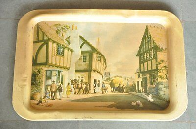 Vintage Country Village Picture Litho Print Handware Tin Tray No. 540 , England