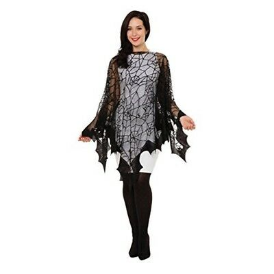 Bristol Novelty Ac306 Spider Web And Bat Fishnet Cape, One Size - Adult Womens
