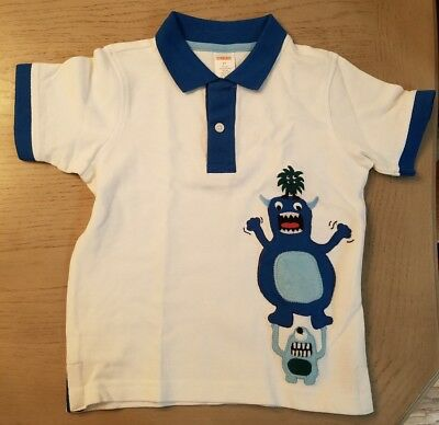 Gymboree SPACE VOYAGER White Aliens/Monsters Collar Polo Shirt Top 3T NWT