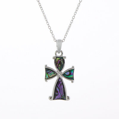 Celtic Cross Paua Shell Necklace Byzantium Collection With Gift Box & Bag