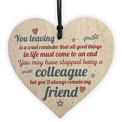 Colleague Gift Friendship Friend Wood Heart Plaque Leaving Office Gift Thank You