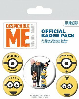 Button Badge 5er Pack DESPICABLE ME - Gru Minions -1x 38mm & 4x 25mm Ich einfach