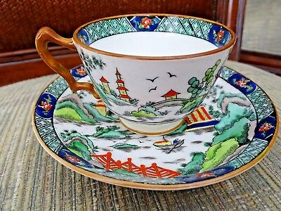 Vintage Crown Staffordshire Fine Bone China Ye Olde Willow  Coffee Cup & Saucer