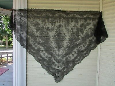 Antique Victorian Era Black Chantilly Lace Mourning Shawl Veil Large Triangle