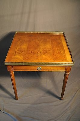 Baker Louis XVI Style End Table With Pierced Brass Gallery