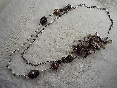 Gunmetal Chain Brasstone White Bead Fabric Flower Offset Necklace (D10)
