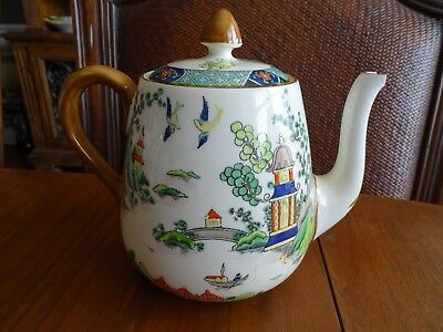 Vintage Crown Staffordshire Fine Bone China Ye Olde Willow # 5356 Teapot + Lid